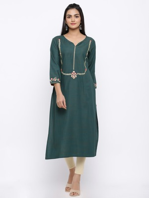 Women's  Dark Green Handloom Rayon Gold Print & Embroidery Straight Kurta
