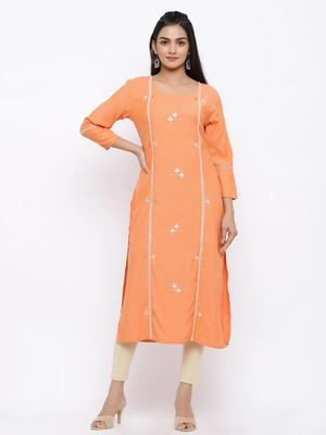 Women's  Orange rayon Printed & Embroidery Straight Kurta