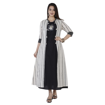 Women's  White & Black Handloom Cotton Striped Print & Embroidery A-Line Kurta With Jacket