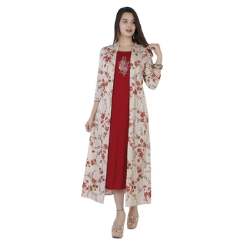 Women's  Maroon & Cream Rayon Floral Print & Embroidery A-Line Kurta With Jacket