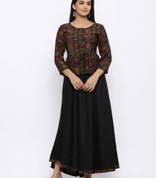Women's  Black Rayon Printed Flared Kurta With Jacket