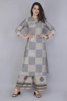 Women's  Steel Grey Modal Chanderi Gold Print Straight Kurta & Pant Set
