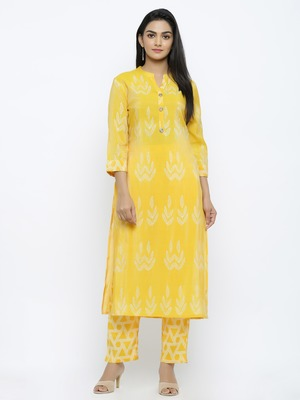 Women's  Lemon Modal Chanderi Gold Print Straight Kurta & Pant Set