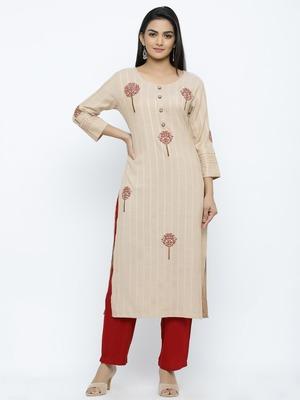 Women's  Chiku & Maroon Handloon Rayon Striped Print & Embroidery Straight Kurta & Pant Set