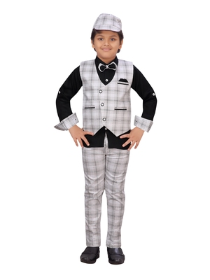 Black woven blended cotton boys-suit