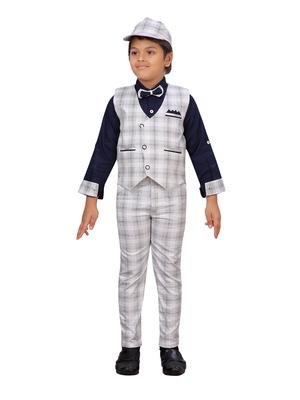 Blue woven blended cotton boys-suit