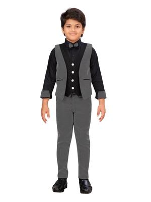 Black woven blended cotton boys-suit