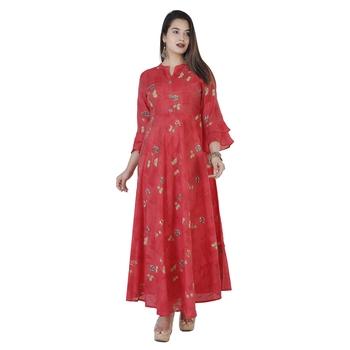 Women's  Carrot Modal Chanderi Gold Print Flared Gown