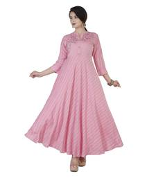 Women's  Baby Pink Liva Rayon Striped Print & Embroidery Flared Gown