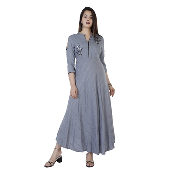 Women's  Grey Rayon Gold Print & Embroidery Flared Gown