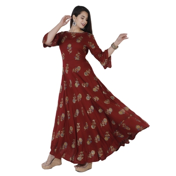 Women's  Maroon Rayon Floral Print Flared Gown