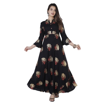 Women's  Black Rayon Gold Print Flared Gown