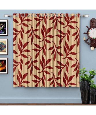 A Maroon Printed  Polyester Window Curtain
