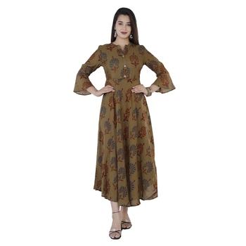 Women's  Mehandi Green Modal Chanderi Gold Print Flared Gown
