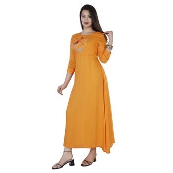 Women's  Orange Modal Chanderi Solid & Embroidery Flared Gown