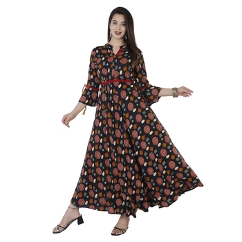 Women's  Black Rayon Printed Flared Gown