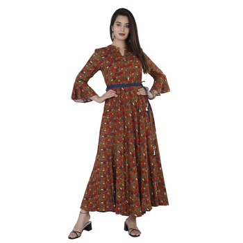 Women's  Mustard Rayon Printed Flared Gown