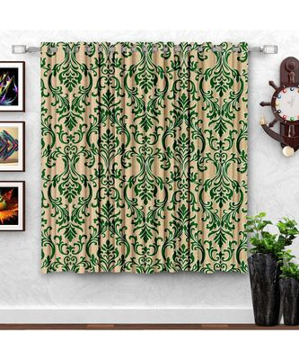 A Green Printed  Polyester Window Curtain