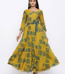 Women's  Light Green   Modal Chanderi Printed Flared Gown