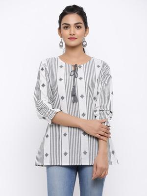 Women's White & Black Modal Chanderi Striped Print Flared Top