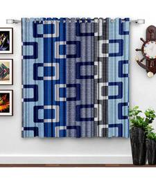 A Royal Blue Printed  Polyester Window Curtain