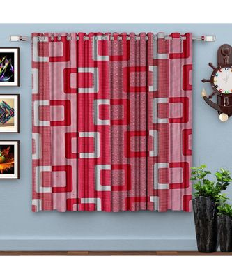 A Pink Printed  Polyester Window Curtain