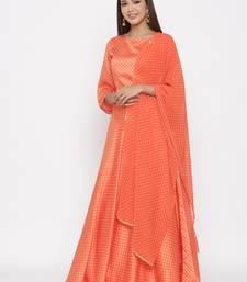 Orange Dull Satin Printed Lehenga Choli
