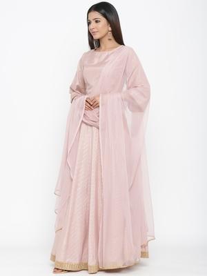 Light Pink Polysilk Self Design Lehenga Choli Dupatta Set