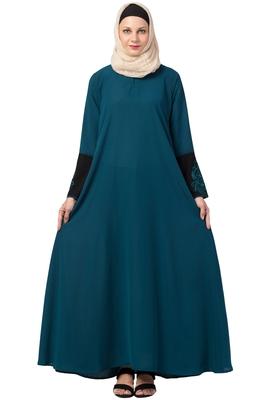 MRC A-Line Women Crepe Solid Abaya With Hijab