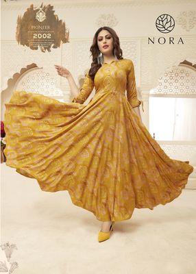 Mustard Yellow Color Foli Printed Rayon Kurtis & Gown