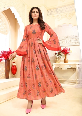 Carrot Floral Print Flare Rayon Kurtis & Gown