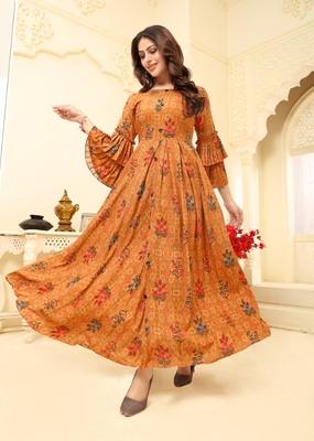 Orange Floral Print Flare Rayon Kurtis & Gown