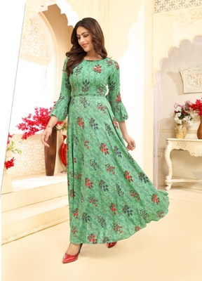Rama Floral Print Flare Rayon Kurtis & Gown