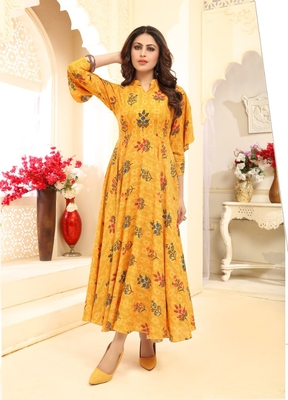 Yellow Floral Print Flare Rayon Kurtis & Gown