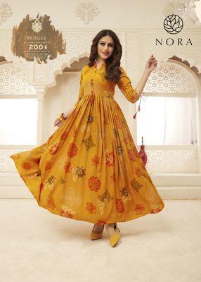 Yellow Bandhni Print Flared Rayon Ethnic Kurtis & Gown