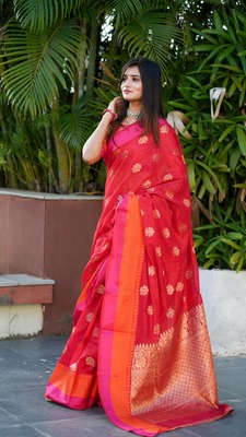 Red colour cotton silk saree with weaving blouse