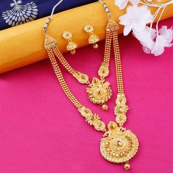 Traditional Gold Plated Ethnic Golden Kundan Designer Long Necklace wedding Jewellery Set