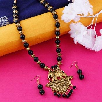 Traditional Designer Gold Oxidised Pendant Black Pearl mala set for Women girl