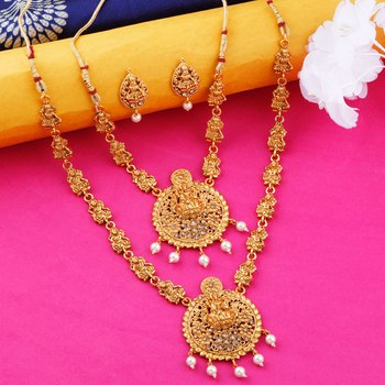 Gold Plated Traditional Latest Designer Temple Long Jewellery Set For Women Girl