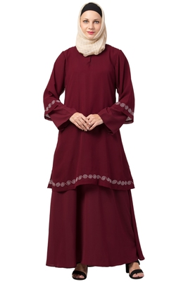 MRC-9086 Front double layered abaya with Hijab
