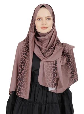 JSDC Salmon Color Islamic Daily Wear Printed Bubble Georgette Women Long Hijab Scarf