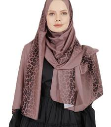 JSDC Salmon Color Islamic Daily Wear Printed Bubble Georgette Women Long Hijab Scarf