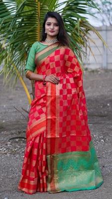 Red colour banarasi silk saree with running blouse