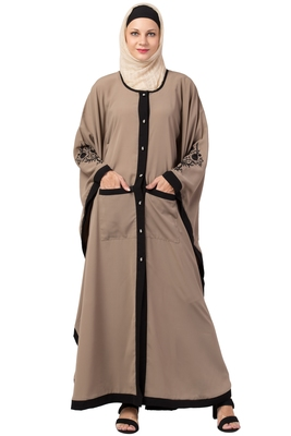 MRC Women Front Open Kaftan Double Pocket Abaya With Hijab