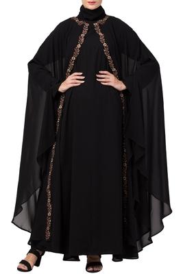 MRC Women Black Double Kaftaan-Shrug style Abaya with Hijab