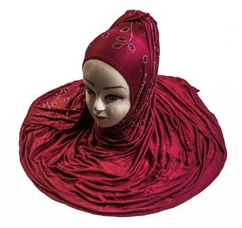 JSDC Magenta Color Diamond Stone Work Hosiery Scarf Hijab For Women