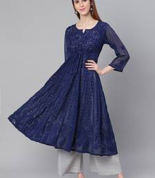 Navy-blue embroidered georgette chikankari-kurtis