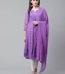 Purple embroidered georgette chikankari-kurtis