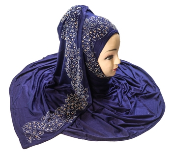 SDC Dark Blue Color Diamond Stone Work Hosiery Scarf Hijab For Women