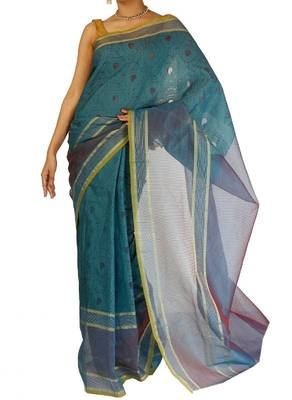 Organza fancy Tanchooi  Stripe border banarasi saree